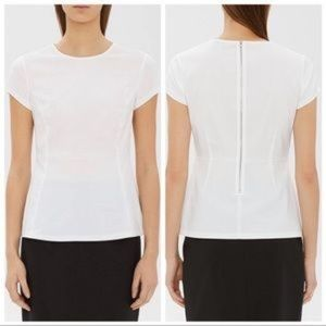 THEORY Carrian Precise White Pleat Detail Top